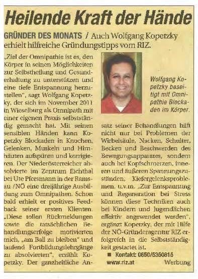 Niederösterreichische Nachrichten - RIZ / Gründer des Monats